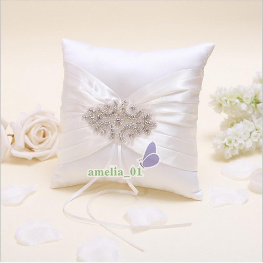 4 pièces/ensemble ivoire Satin cristal mariage livre d'or + stylo ensemble anneau oreiller fleur filles panier - 3