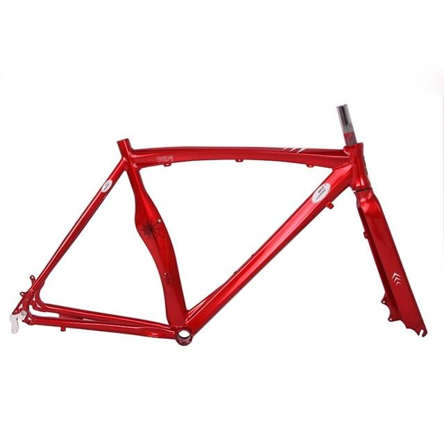 Disc Brake Road Bike Frame 700C Road Frame Multicolor Aluminum Alloy Fixie  53cm Frame Fixed Gear