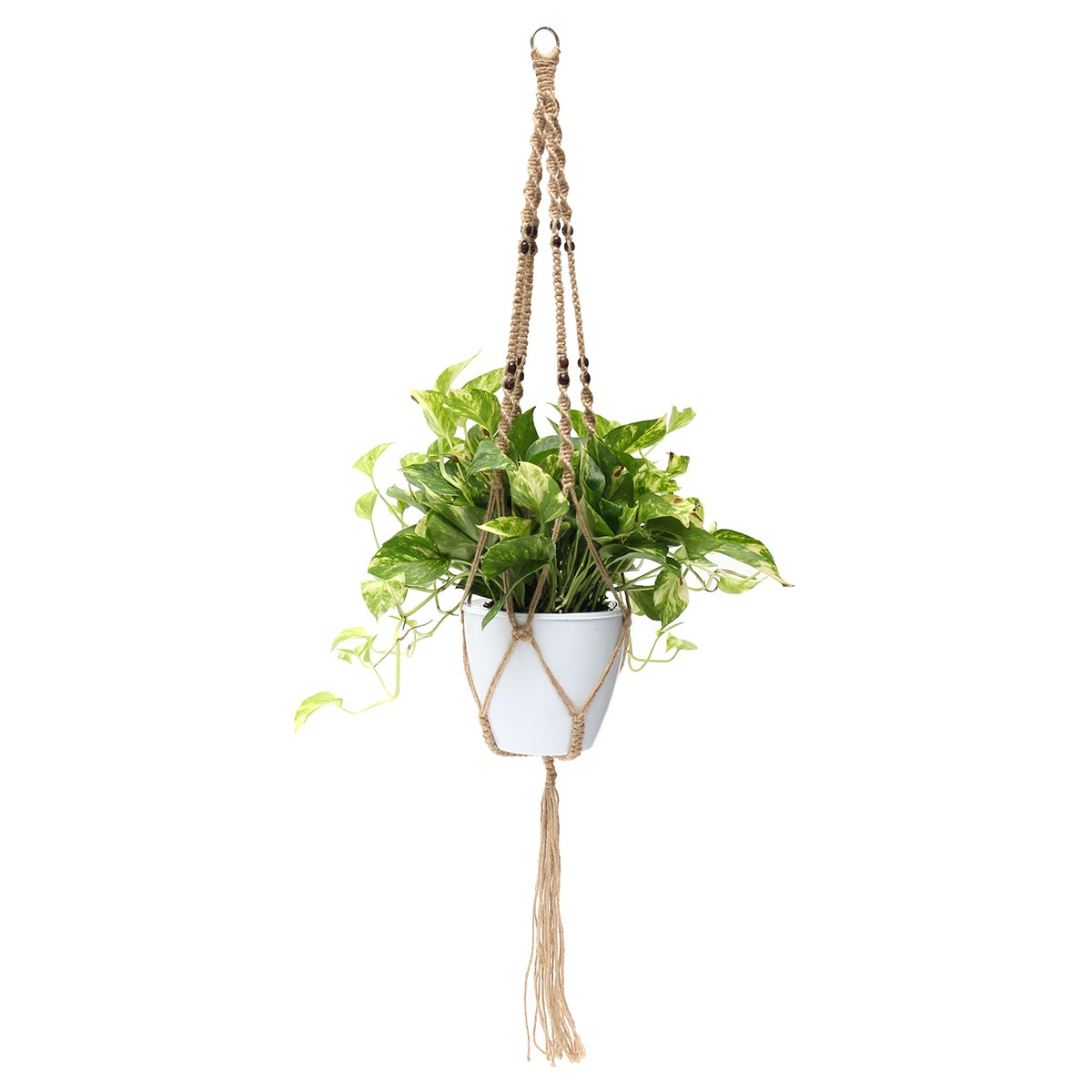 KiWarm 1Pcs New Plant Hanger Macrame Jute Rope Hanging Pots Basket Planter Holder Balcony Macrame Cord Rope