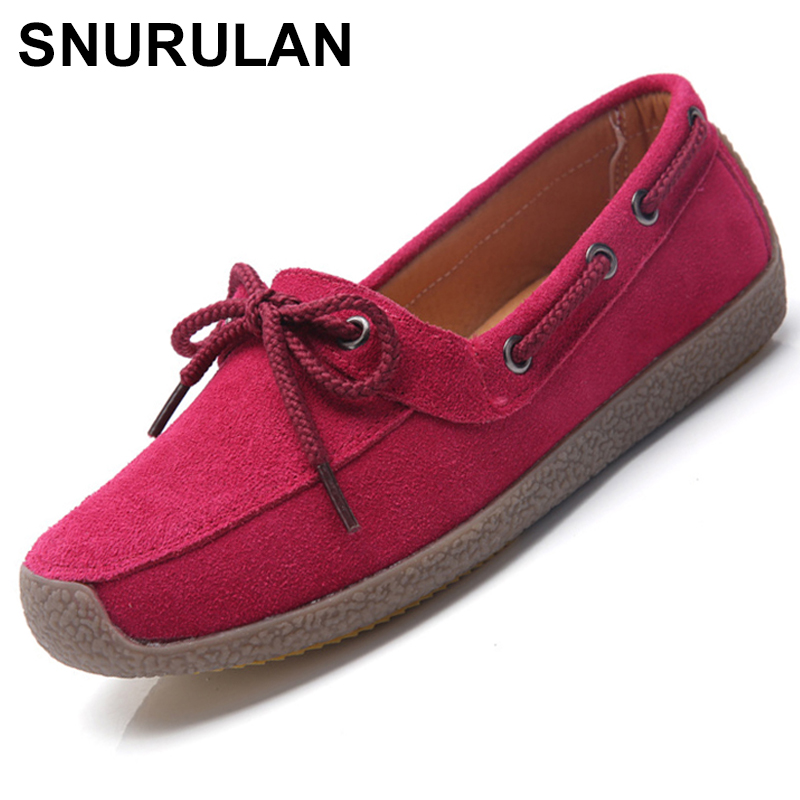 SNURULAN2018 Autumn women sneakers oxford shoes casual flats shoes women   leather     suede   boat shoes round toe flats moccasinsE378