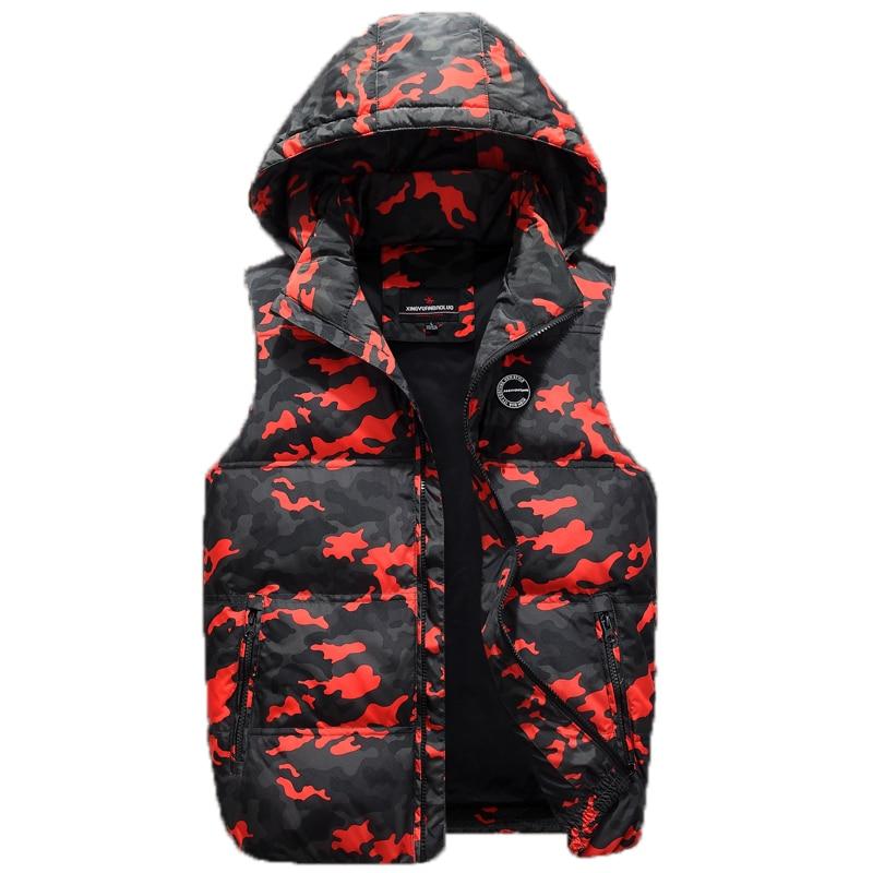 37f46cc70de3 Men Duck Down Baggy Vest Autumn Winter 2018 Camouflage Hooded Zipper  Workpatch Sleeveless Windbreaker Male Jacket 2018 Classic