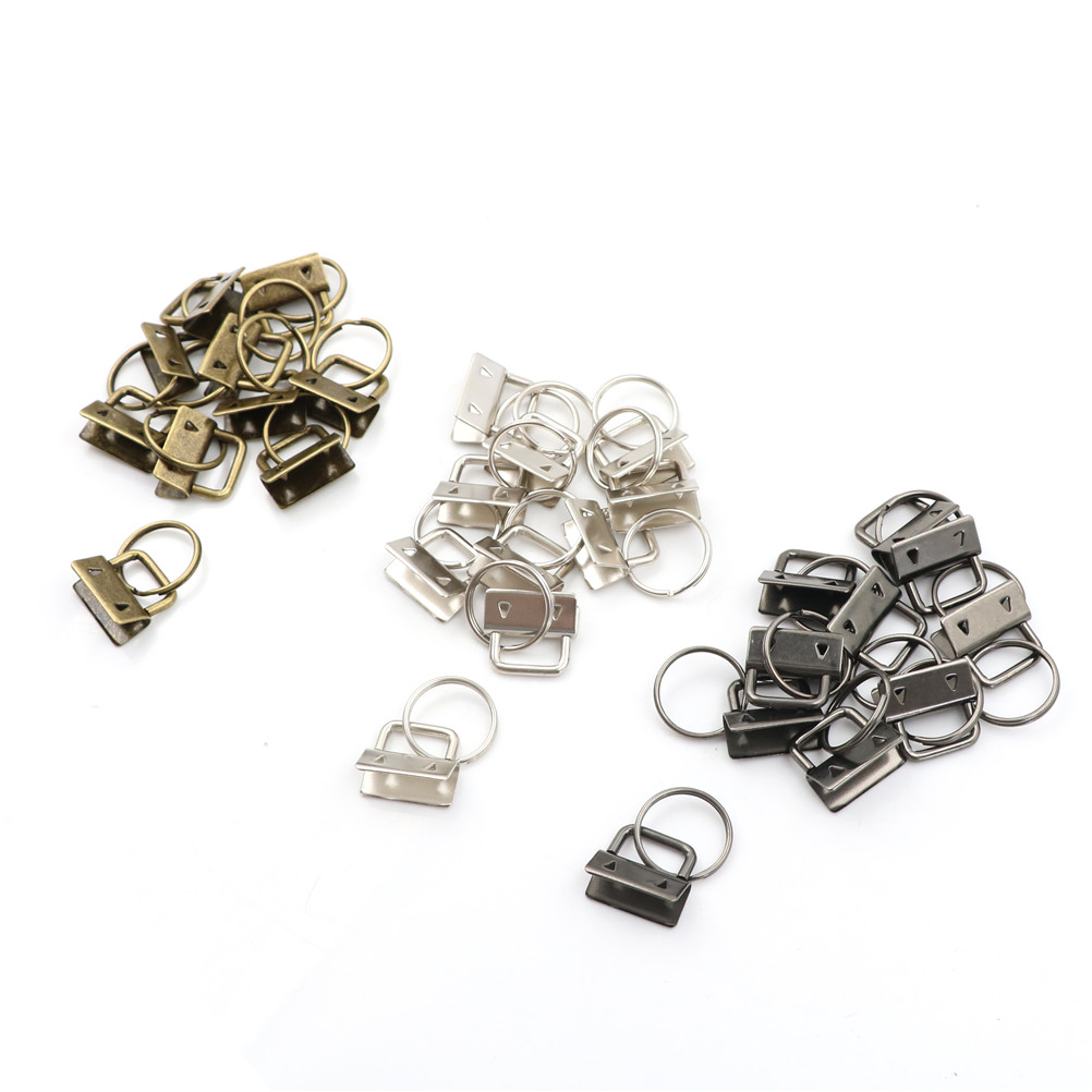 10Pcs Key Fob 25mm Keychain Split Ring For Wrist Wristlets Cotton Tail Clip Hardware Accessories Wholesale