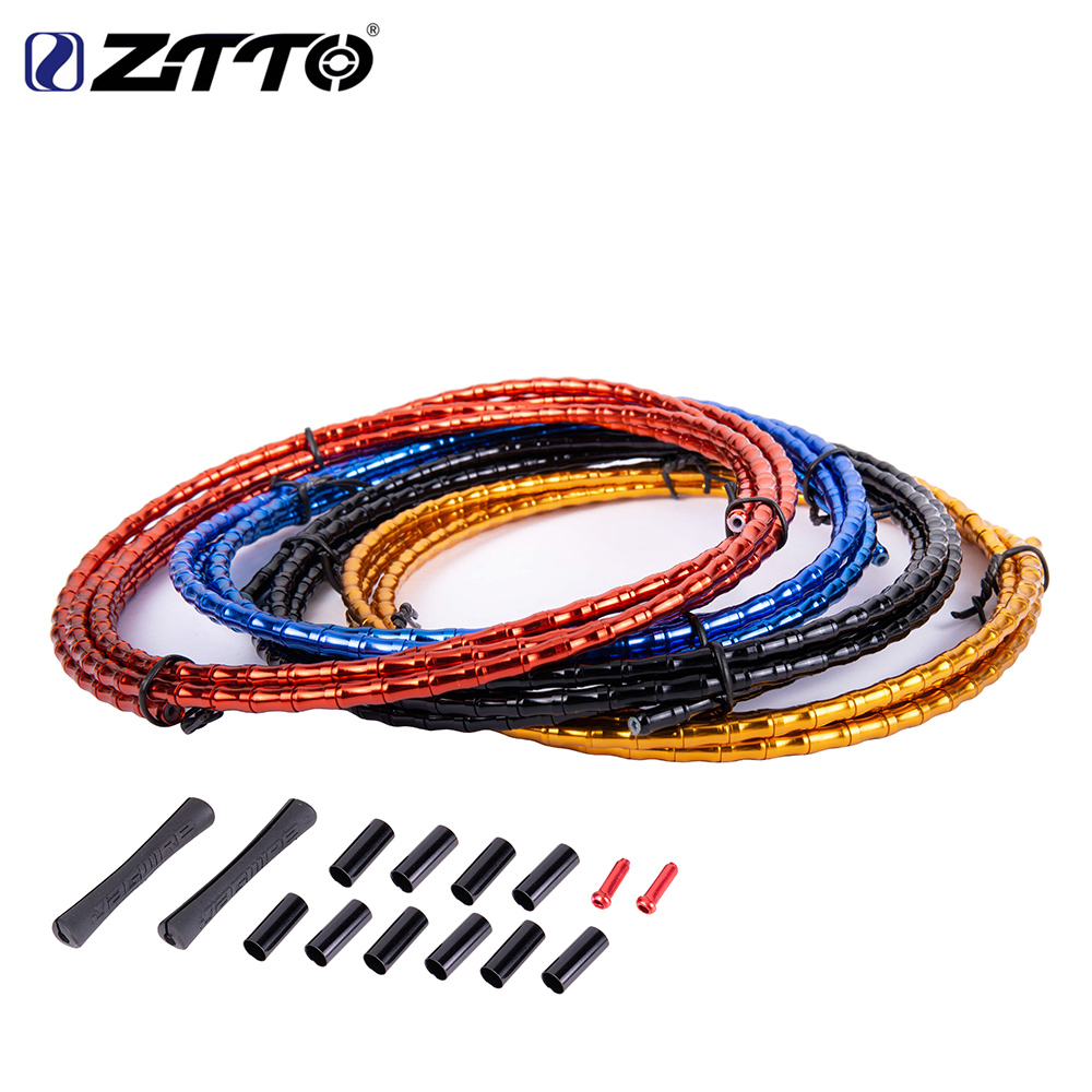 ZTTO MTB Floding Road Bike Bicycle CNC Bamboo Brake Line Cover Elite Aluminum Alloy Links Mountain Shift Cable Hose 1800mm Tube