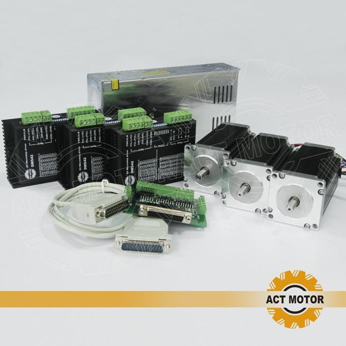 ACT Motor 3Axis Nema23 Stepper Motor Dual Shaft 23HS2430B 425oz-in 3A 4Leads Bipolar+Driver DM542 128Micro Foam Metal Laser