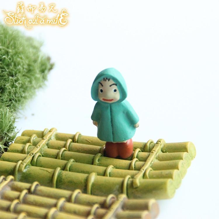 New Resin Fairy Garden Miniatures Mini Bamboo Raft Miniature Fairy Garden Decorations Kawaii Micro Landscape Accessories Craft