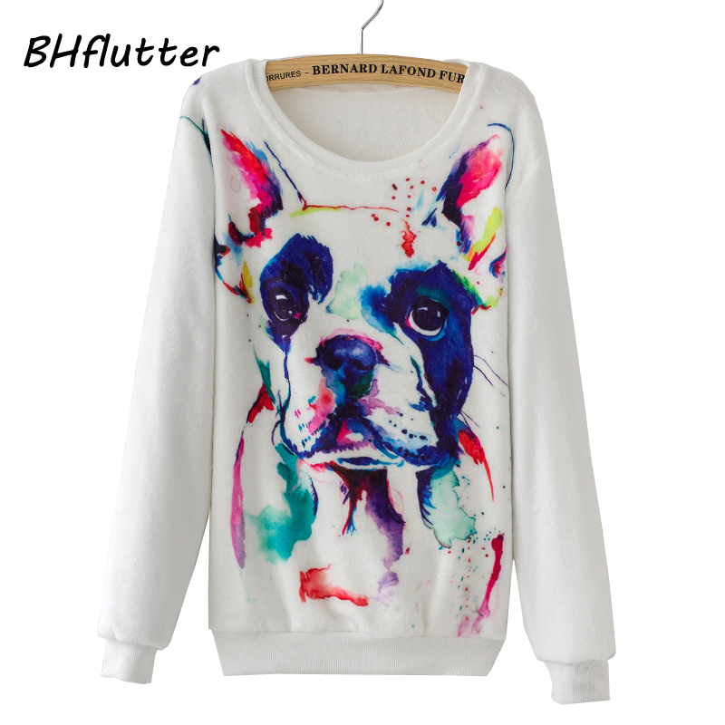 BHflutter Women Sweater 2017 Autumn Winter Pullover Long Sleeve Fleece Knitted Sweaters Cute Dog Print Casual Pullovers Jumper