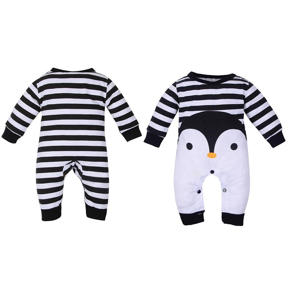 Hot Fashion Infant Baby Boy Girl Penguin Print Long Sleeve Romper Jumpsuit Warm Gift