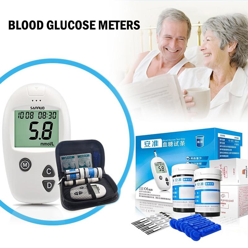 Testeur de glucomètre de diabète et bandelettes de Test de glycémie lancettes médicales moniteur de glycémie prix de Promotion VF