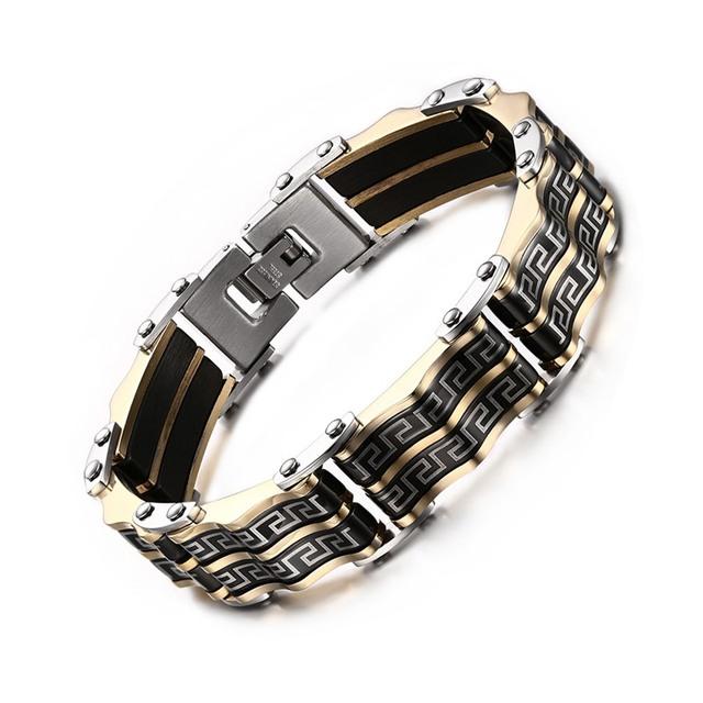 Parede da grelha Meaeguet pulseiras & bangles for men preto e cor de ouro de aço inoxidável homens pulseiras pulseiras de jóias por atacado