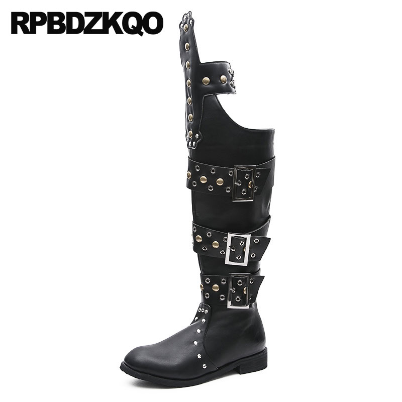 Stud Black Shoes Mens Leather Tall