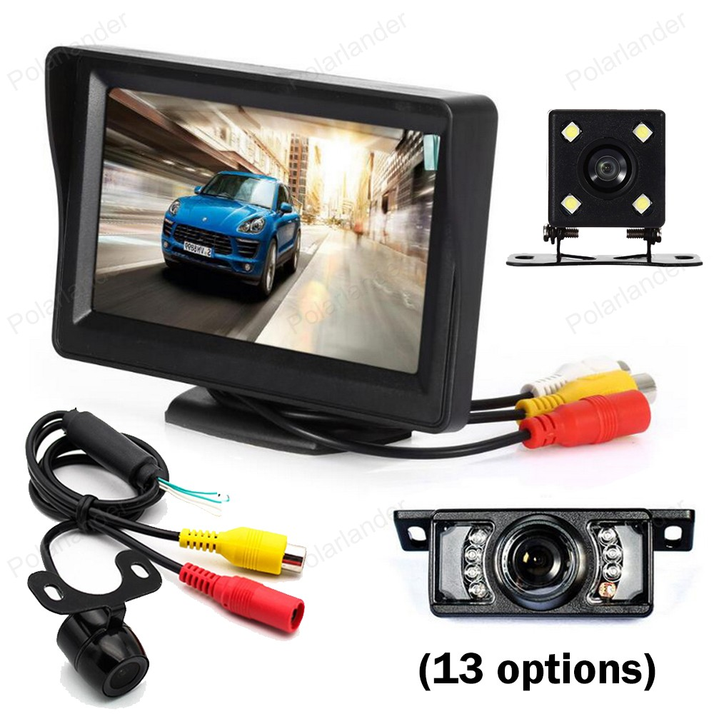 wireless 4.3 Inch Car Monitor TFT LCD screen display 2 video input with night vision Rearview revesing parking Camera kit