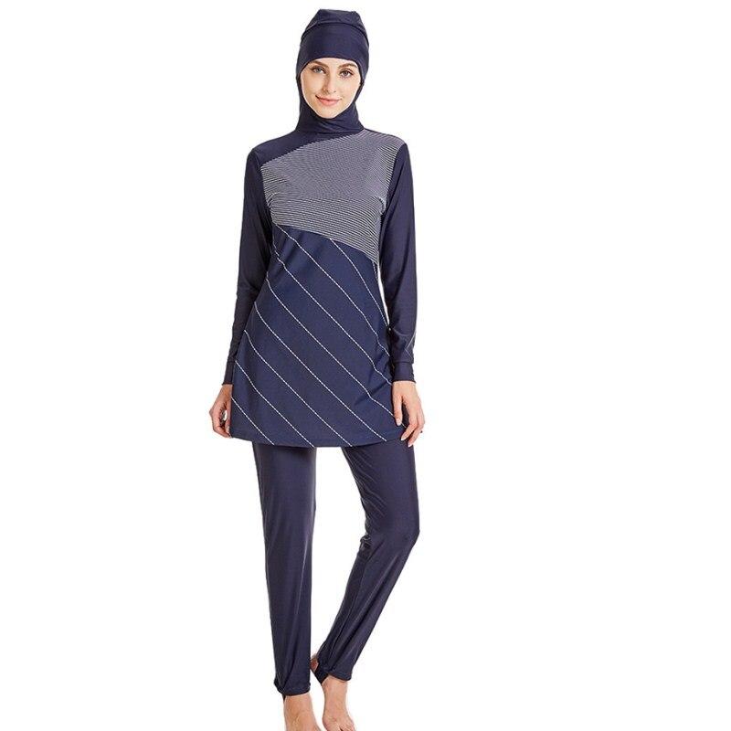 2017 Women Muslim Swimwear Arab Islamic Wear 2 Pieces Muslim Swimsuit With Cap Striped High Quality Muslim Bathing Suit swimsuit muslim swimwear for women 2017 new swimsuit swimwear islamic arab muslim woman beach swimsuit size l 5xl