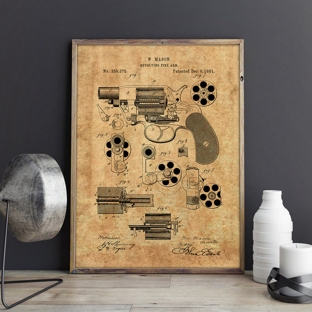 Patent Wall Art Canvas Prints Gun Posters Military Vintage Blueprint Painting
