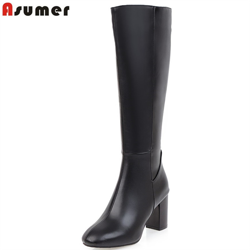 ASUMER Winter Boots Shoes Woman Square Toe High-Heels Knee Elegant Autumn Plus-Size Fashion