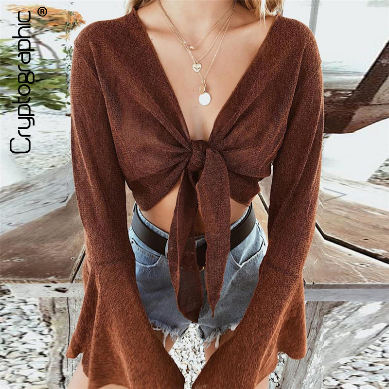 Cryptographic Fashion V Neck Brown Blouse Shirt Bow Sexy Crop Top Short Blusas 2018 Autumn Cropped Top Women Blouses Clothes
