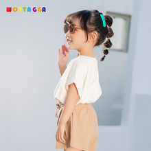 WOTTAGGA 2019 T-Shirts For Boys Girls Tops Kids T Shirt Clothes Summer T-Shirt Childrens Clothing Solid Cotton