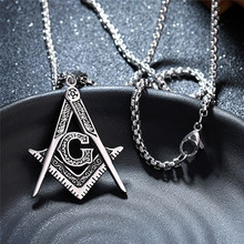 Masonic Freemasonry Pendants Necklaces Gold/Silver Stainless Steel Chain Accessories for Hiphop/Rock Style Men Jewelry