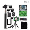 New Universal 8X Zoom Telescope+selfie stick monopod+3in1 Clip Fish Eye Lens Wide Angle Macro Mobile+mini tripod flexible