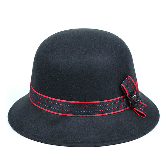 Autumn and winter new British wind bow women 's hat Fashion hat Outdoor woolen basin cap