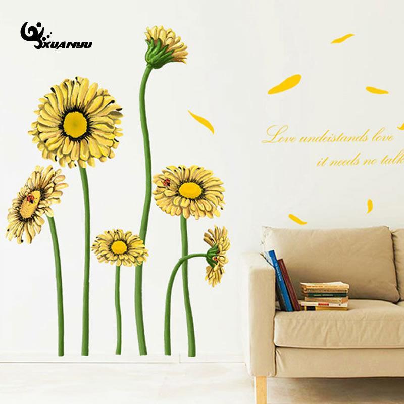 Online get cheap sunflower wall decor for Sunflower bedroom decor