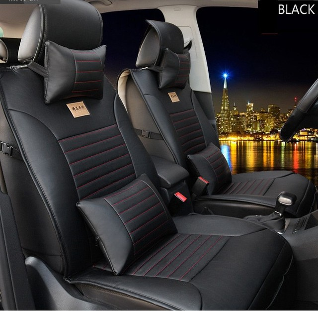 For FIAT 500 Idea Uno Panda Ottimo Bravo Palio Punto Brand Leather Black Car Seat Cover