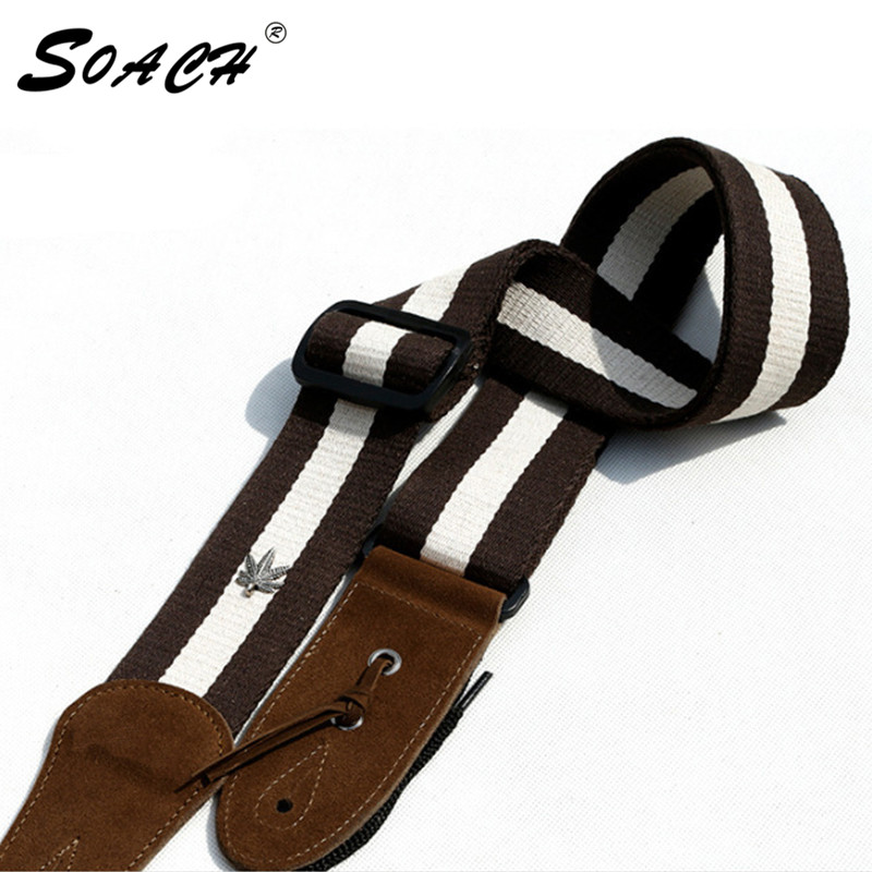 SOACH White stripes straps Acoustic Guitar black Strap Belt Adjustable  Nylon  colors Leather Ends For Guitars nylon guitar strap adjustable bass acoustic electric guitar strap belt with leather ends