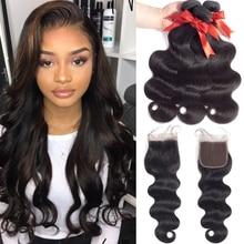 Brazilian Hair Weave Csomagok 3 csomópontok bezárása brazil test hullám záró Remy emberi haj csomók lezárásával