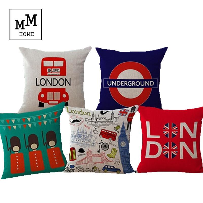 Union Jack Linen Cotton Pillow London Bus Cushion Home Decor Sofa Pillow Decorative Cushions Free Shipping