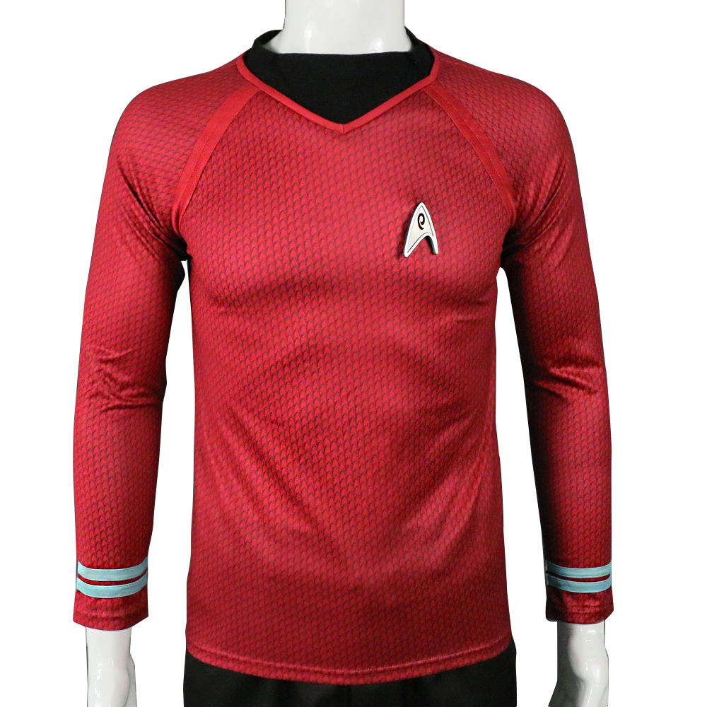 Star Trek Into Darkness Scotty Shirt Uniform Cosplay Costume Red Version For Adult Men Tops With Badge