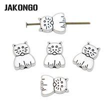 Jakongo tibetano prata chapeado gato espaçador contas para fazer jóias pulseira diy acessórios artesanato 20 peças