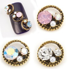 Pandahall 10pcs nail diamonds round box shape 3d nail art alloy bottom with rhinestones