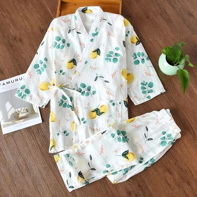 夏の新鮮なバスローブ女性のための日本の着物ローブセットレディース 100% ガーゼ綿シンプルなパジャマ浴衣夜のスーツ