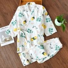 Summer fresh bathrobes bathrobe for women japanese kimono robes sets womens 100% gauze cotton simple pajamas yukata night suits