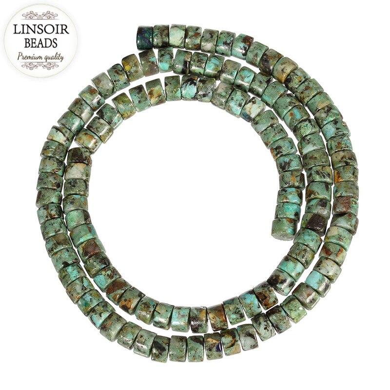 LINSOIR 110 stücke/strang Natürliche Stein Afrikanische Erstellt Perlen Durchmesser 5,5mm Lose Rondellen Distanzscheibe für DIY Schmuck machen F5428