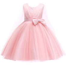 3-7Y Girl Princess Long Pink Lace Bow-knot Wedding Party Ball Gown Prom Dresses Girl Christmas Embroidery Dress Graduation Gowns цена