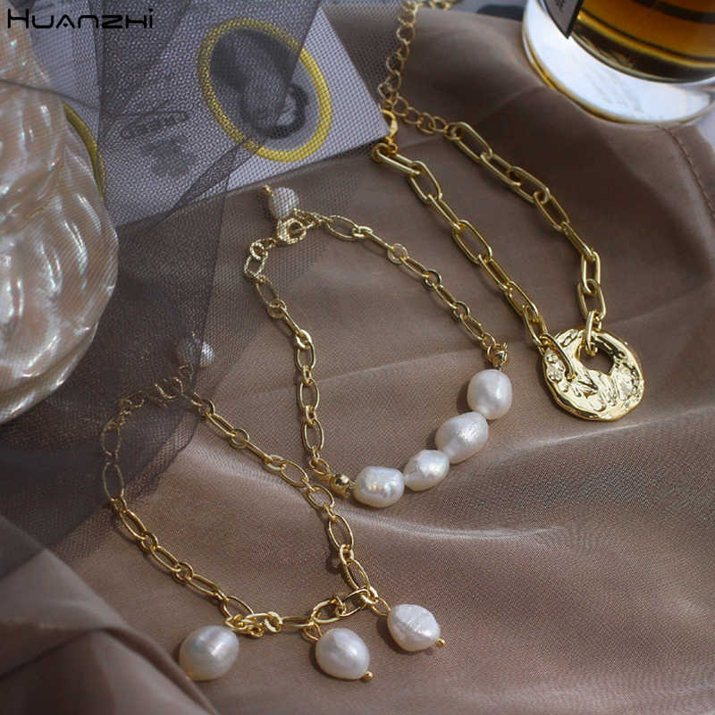 HUANZHI 2019 New Gold Color Baroque Irregular Pearls Link Chain Tassel Bracelets for Women Girl Party Bangle Jewelry Gift