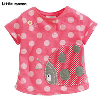 Little maven kids brand clothes 2017 summer baby girls clothes ladybug Patch embroidery t shirt Cotton brand tee tops 50738