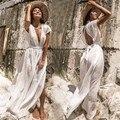 (Test products, please do not buy) Deep V Neck Beach Dress Side Split Backless Boho Dresses White Cotton Cover-Ups Long Dress
