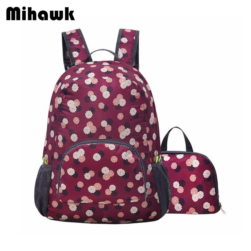 Mihawk Foldable Floral Travel Backpack Womens Mens Portable Clothes Storage Bags Girls Kids School Bag Accessories Supplies