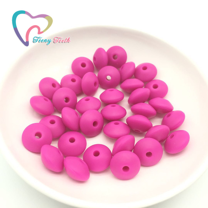Teeny Teeth 50PCS BPA Free Silicone Lentil Teether Beads DIY Baby Pacifier Abacus Chewing Beads Necklace Jewelry Toy Accessories
