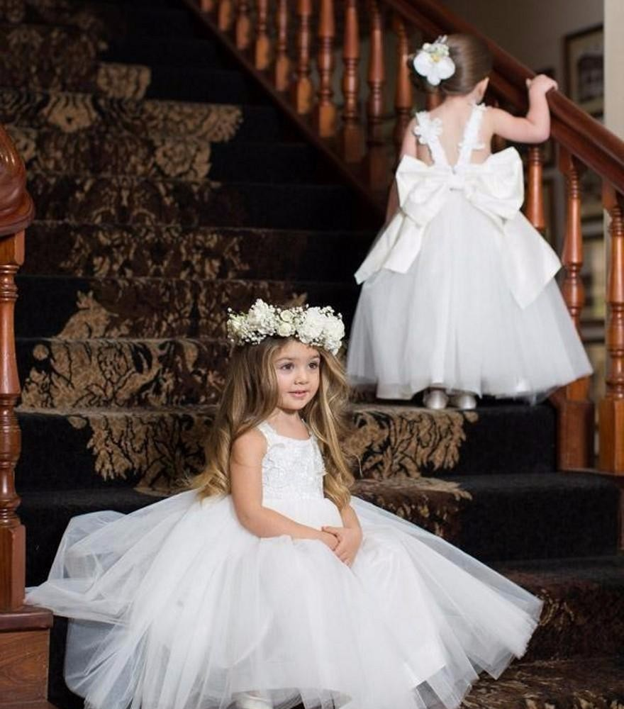 Puffy Tutu White Flower Girl Dresses For Party And Wedding Lace
