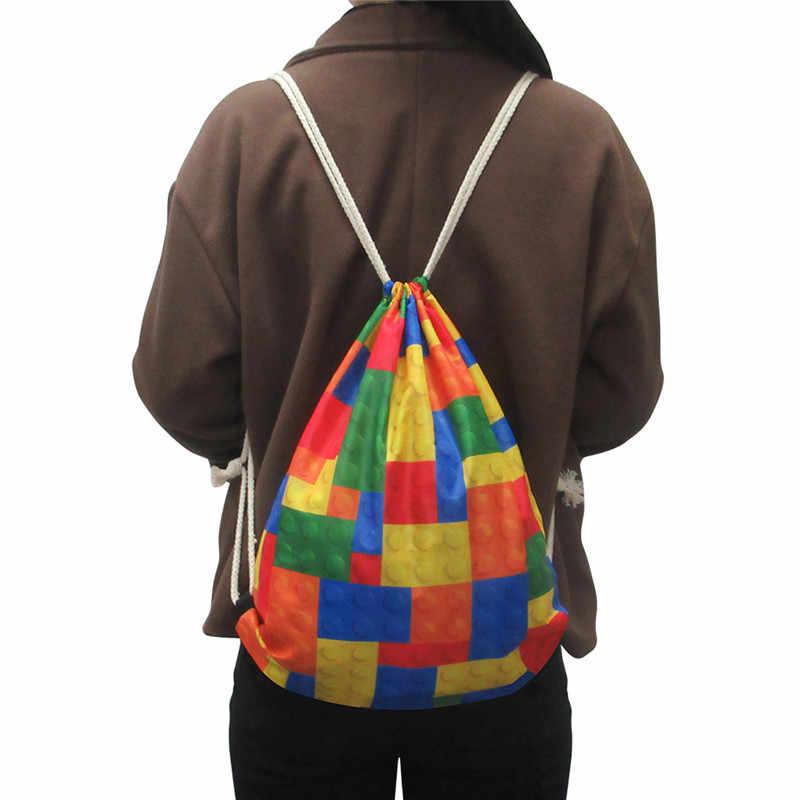 Бесшумный дизайн пятнистая собака зеленая Милая Туристическая сумка со шнурками спортивные сумки Cinch Sackback Cool мальчик девочки маленький рюкзак мягкий