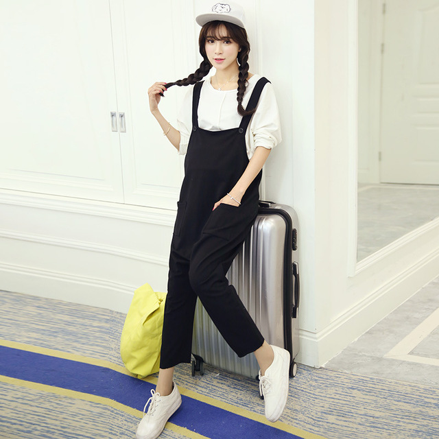 Europe Style Plus Size Maternity Pants Pregnant Women Casual Suspender Trousers Fashion Buckle Solid Color Gravida Overalls