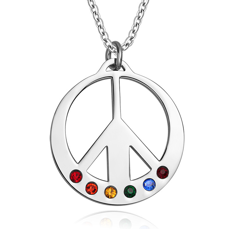 Peace Symbol Pendant Necklace Stainless Steel Rainbow Rhinestone Choker Necklaces Women Men Lgbt Jewelry Valentines Day Gifts