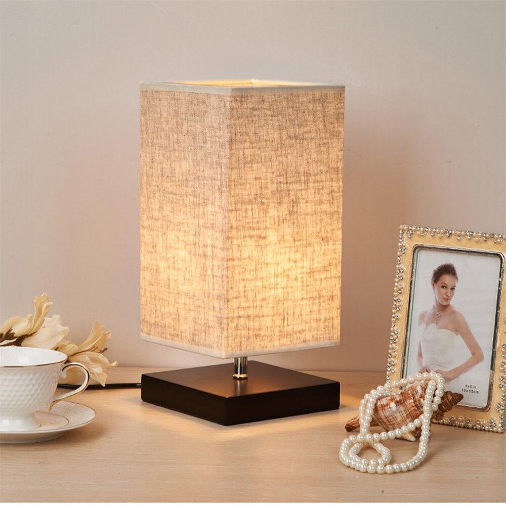 Modern lamp tables - Modern Table Lamp Led Light Linen Cloth Shade Bed Office Desk Light Home Bedroom Living Room