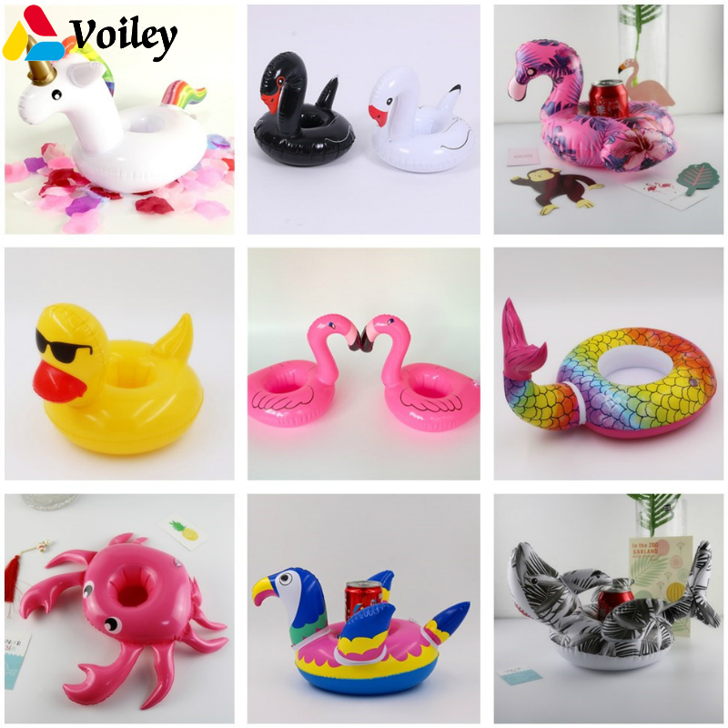 VOILEY Mini Crabe/Unicorn/Flamingo/ Inflatable Cup Holder Beverage Boats Summer Pool Party Hawaiian Beach Party Decor Supplies,8