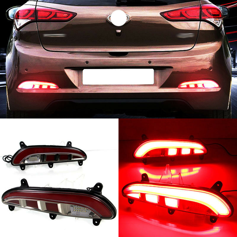 LED Rear Bumper Reflector Fog Brake Turn Indicator Lights For Hyundai i20 15-17