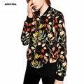 2017 Весна Женщины Цветочный Куртка Печати V-образным Вырезом Марка Bomber Куртки Jaqueta Feminina Пальто Женщин
