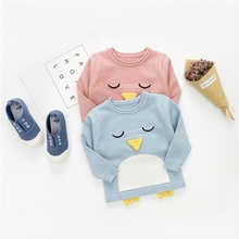 Autumn Baby Girls Cartoon Penguin Long Sleeve O Neck Knitwear Sweater Kids Causal Pullover Jumper Infant Clothes