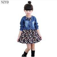 2017 New Fashion Spring Autumn Girl Two Pieces Suit Children Denim Jacket Floral Dress Korean Casual